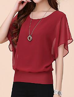 여성의 솔리드 라운드 넥 짧은 소매 티셔츠 플러스 사이즈 블루 / 레드 / 화이트 / 블랙 / 퍼플 폴리에스테르 여름 얇음