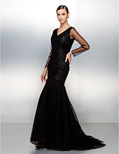 저녁 정장파티 드레스 - 블랙 핏 & 플레어 스위프/브러쉬 트레인 V넥 명주그물