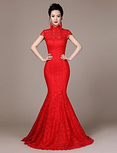 High Neck Self-cultivation Lace Satin Sweep/Brush Train Bride Cheongsam Dress/Ball Gown