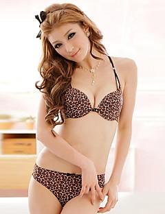 Cotton Sexy Leopard Push-Up/3/4 Cup Bra Set
