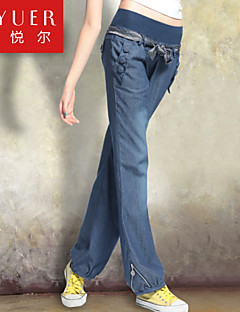 EYUER Women's Clothing 2015 spring loose wide leg pants jeans female elastic waist high code bloomers long pants