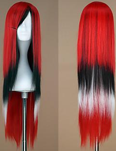 검은 색과 빨간색과 흰색 색 긴 물결 모양의 합성 펑크 로리타 가발
