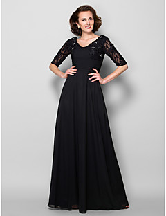 A-line Mother of the Bride Dress - Black Floor-length Half Sleeve Chiffon/Lace