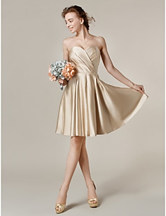 Lanting Bride® Knee-length Satin Bridesmaid Dress A-line / Princess Sweetheart Plus Size / Petite with Pockets / Criss Cross