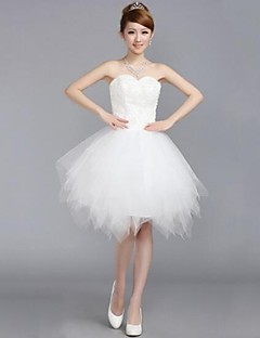 Wedding Party Dress - White A-line Sweetheart Knee-length Tulle