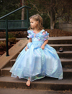 Girl's Summer Dress Inelastic Cinderella Princess Dress Thin Short Sleeve Dresses (Organza)