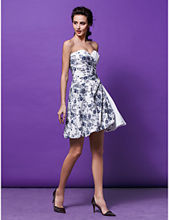 Homecoming Cocktail Party Dress - Print A-line/Princess Sweetheart Short/Mini Satin