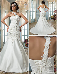 Trumpet/Mermaid Plus Sizes Wedding Dress - Ivory Court Train One Shoulder Tulle