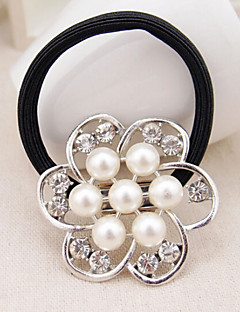 Large Pearl Rhinestone Flower Hair Ties