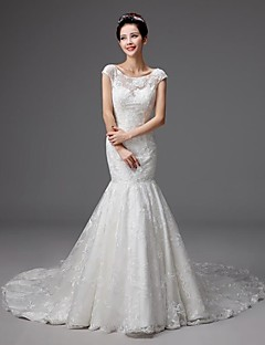 Trumpet/Mermaid Floor-length Wedding Dress -Square Tulle