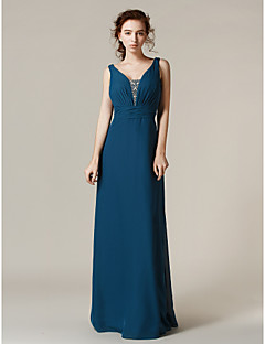 Floor-length Chiffon Bridesmaid Dress - Ink Blue Plus Sizes / Petite Sheath/Column Straps