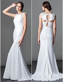 Lanting Bride® Trumpet / Mermaid Petite Wedding Dress Sweep / Brush Train Bateau Chiffon with