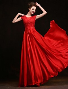 Formal Evening Dress A-line Scoop Floor-length Silk Dress