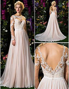 A - střih/Princess Zdobený Dlouhá vlečka Svatební šaty (Šifón/Tyl)