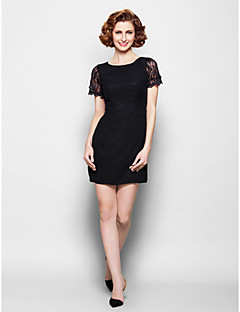 Sheath/Column Plus Sizes / Petite Mother of the Bride Dress - Black Short/Mini Short Sleeve Chiffon / Lace