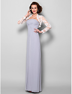 Sheath/Column Mother of the Bride Dress - Silver Floor-length Long Sleeve Georgette/Lace