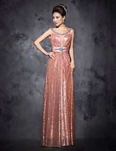 Prom Dress A-line Scoop Sequins Floor-length Tulle Dress