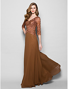 A-line Mother of the Bride Dress - Brown Floor-length 3/4 Length Sleeve Lace/Georgette