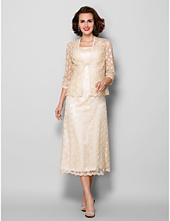 Lanting Sheath/Column Plus Sizes / Petite Mother of the Bride Dress - Champagne Tea-length 3/4 Length Sleeve Lace
