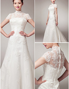 웨딩 드레스 - 화이트 A 라인 쿼트 트레인 하이넥 레이스