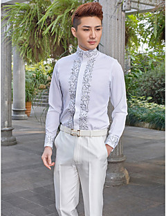 Shirts Mandarin Long Sleeve Cotton/Polyester Patterns White
