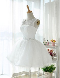 Knee-length Lace / Tulle Bridesmaid Dress - White Ball Gown Jewel