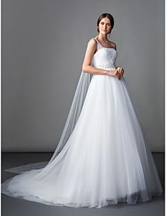 LAN 팅 라인 / 공주 웨딩 드레스 - 아이보리 법원 기차 하나 어깨 얇은 명주 그물