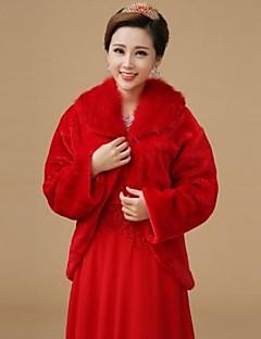 Fur Wraps Shawls Long Sleeve Wool Red