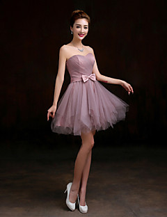 Short/Mini Tulle Bridesmaid Dress - Purple A-line Sweetheart