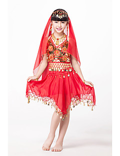 Belly Dance Outfits Children's Performance Chiffon/Sequined Beading/Coins/Sequins Fuchsia/Gold/Red/turquoise Kids Dance Costumes