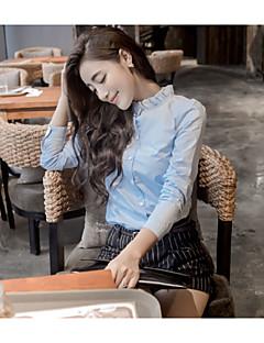 여성의 긴 소매 셔츠 면혼방