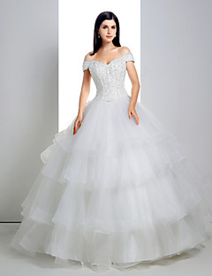 Ball Gown Wedding Dress - White Floor-length Off-the-shoulder Lace/Organza/Charmeuse