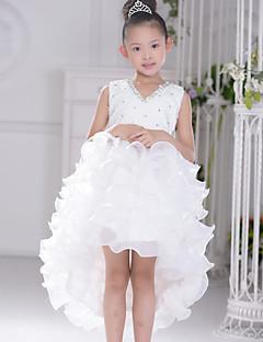 פרח שמלת ילדה - שמלת נשף - אסימטרי - ללא שרוולים - אורגנזה