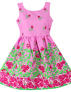 Girls Fashion Flower Print Sundress Party Birthday Children Clothes Princess Dresses (100% Cotton)
