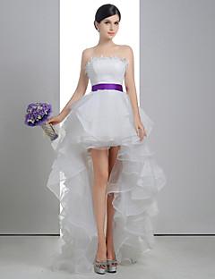 A-line Wedding Dress - White Asymmetrical Strapless Lace/Linen/Tulle