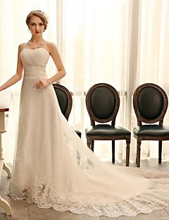 웨딩 드레스 - 아이보리(색상은 모니터에 따라 다를 수 있음) A 라인 채플 트레인 스윗하트 오르간자