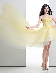 저녁 정장파티 드레스 - 옐로우 볼 가운 비대칭 스위트하트 오르간자/명주그물/엘라스틱 실크같은 사틴