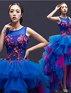 Formal Evening Dress - Royal Blue A-line Jewel Asymmetrical Tulle