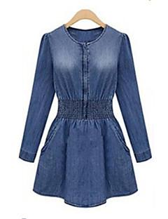 Women's Blue Denim Dress Long Sleeve