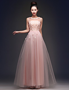 Formal Evening Dress - Candy Pink Plus Sizes A-line Bateau Floor-length Tulle