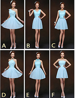 Mix & Match Dresses Short/Mini Chiffon and Lace 6 Styles Bridesmaid Dresses (2840153)