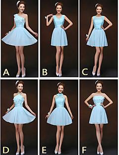 blanda& match klänningar kort / mini chiffong och spets 6 stilar brudtärna klänningar (2840153)