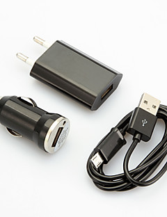 USB Car Charger with EU Plug Adapter and Micro USB Cable for Samsung Galaxy S3/4 Huawei HTC Xiaomi and Other Cellphone