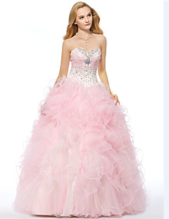 Formal Evening Dress - Candy Pink Plus Sizes / Petite A-line Sweetheart Floor-length Organza