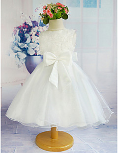 A-line Knee-length Flower Girl Dress - Tulle/Polyester Sleeveless