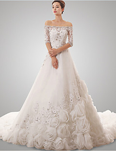 A-line Wedding Dress - White Chapel Train Off-the-shoulder Tulle