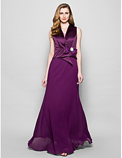 A-line Mother of the Bride Dress - Grape Floor-length Sleeveless Chiffon/Satin