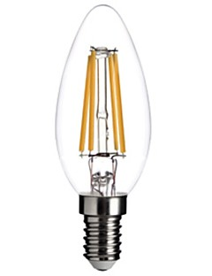 ON E14 4W COB 400LM LM Warm White C35 Dimmable / Decorative LED Filament Bulbs AC 220-240 V