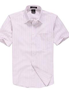 אנשיו של חולצה פסים כותנה / פוליאסטר שרוול קצר יום יומי / עבודה / רשמי / ספורט ורוד / לבן