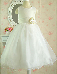 A-line Knee-length Flower Girl Dress - Cotton/Tulle Sleeveless